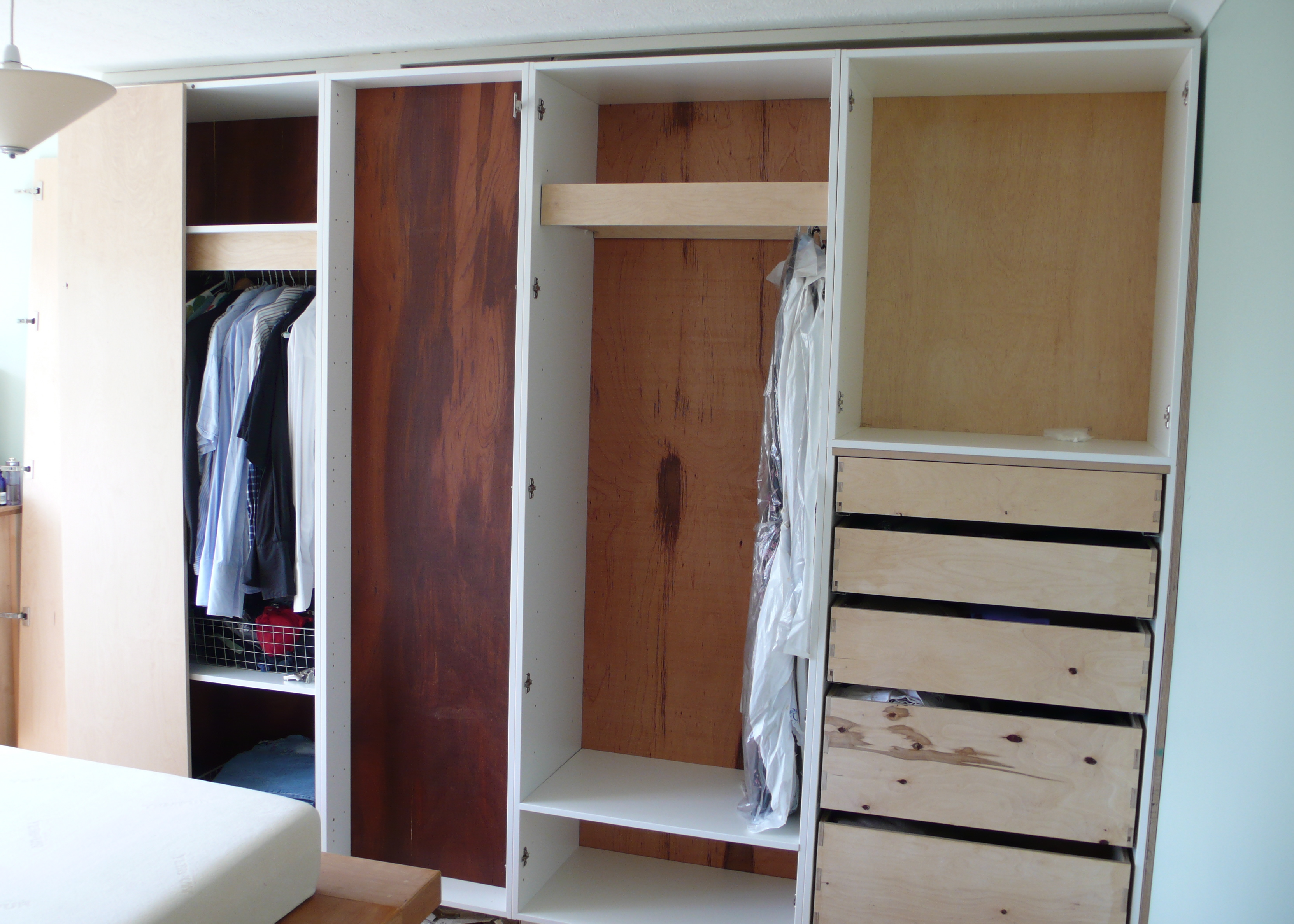 Bedroom wardrobe built around chimney breast diy for Designs for bedroom cupboards